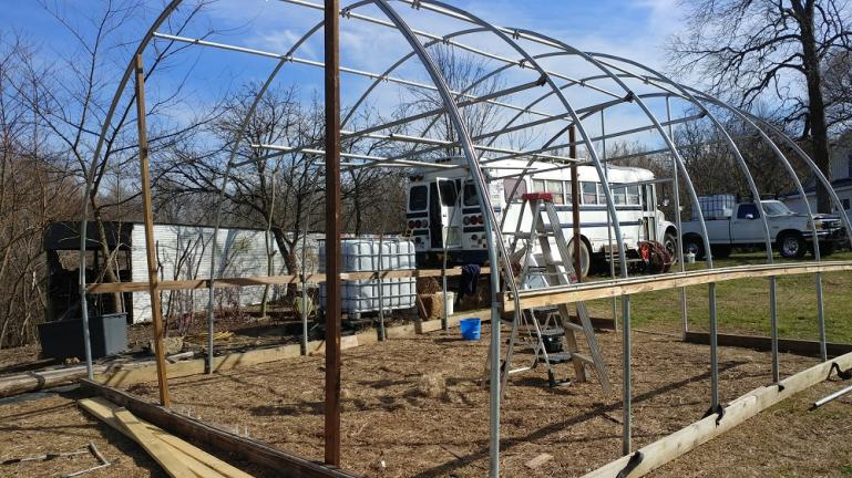 Still trying to get the greenhouse functional... almost, ready for plastic  3-5-20