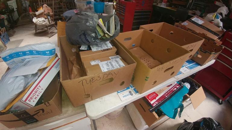 Mail and package intake system. 1 box for each day. a week later we can open them.