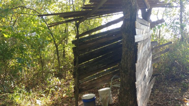 Outhouse upgraded with a couple walls & roof 9-19-19