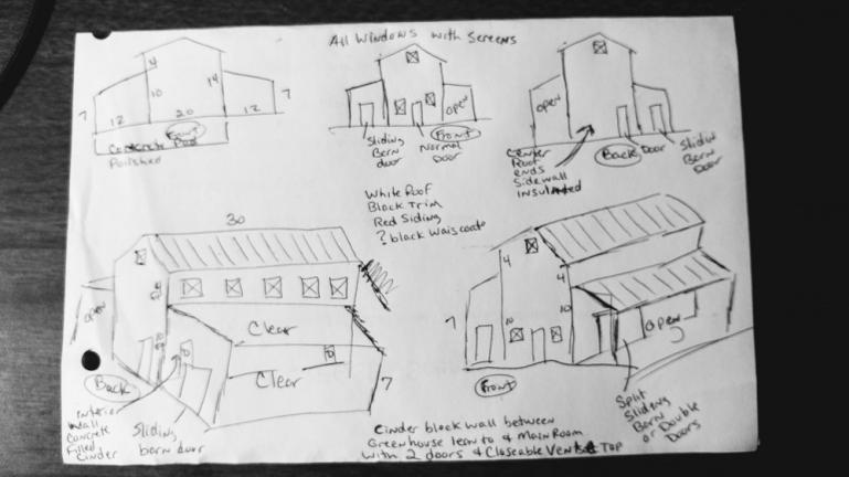 Greenhouse,Processing Space, WWOOFER Quarters, Tracctor Shed and Outdoor Kitchen