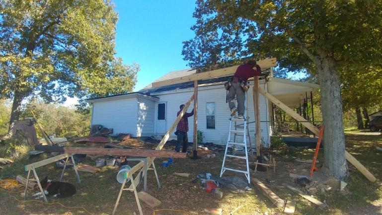 onstruction begins on the side porch 10-18-19