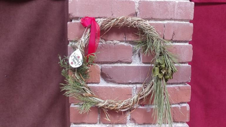 Real Mistletoe, Pine and Honeysuckle wreathes for sale at the Barnlot Theater Lobby
