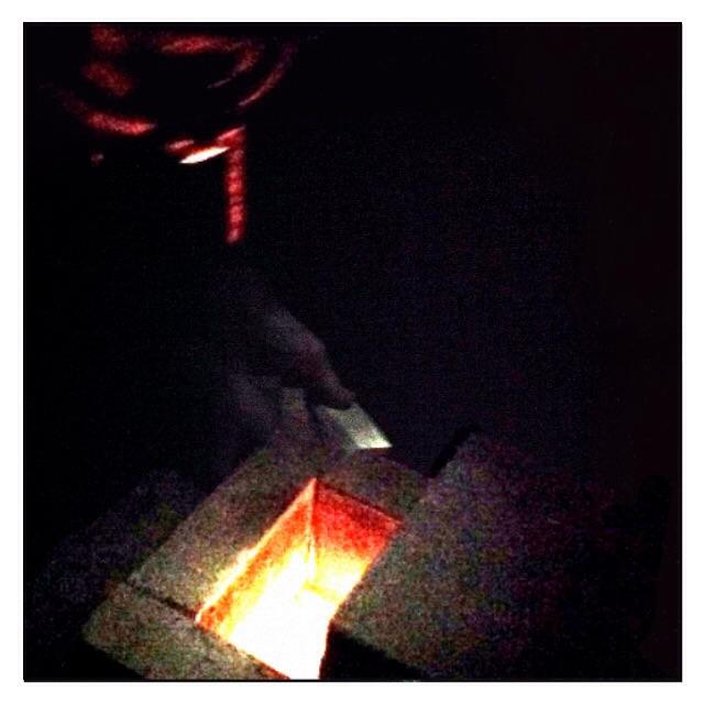firemaster feeding the rocket stove mass heater from 2-5 a.m.