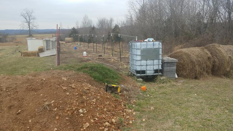 Chickens are scratching and pooping on our garden area until Februrary   Then we're adding that pile of top soil and those rolls of hay 1-8-21