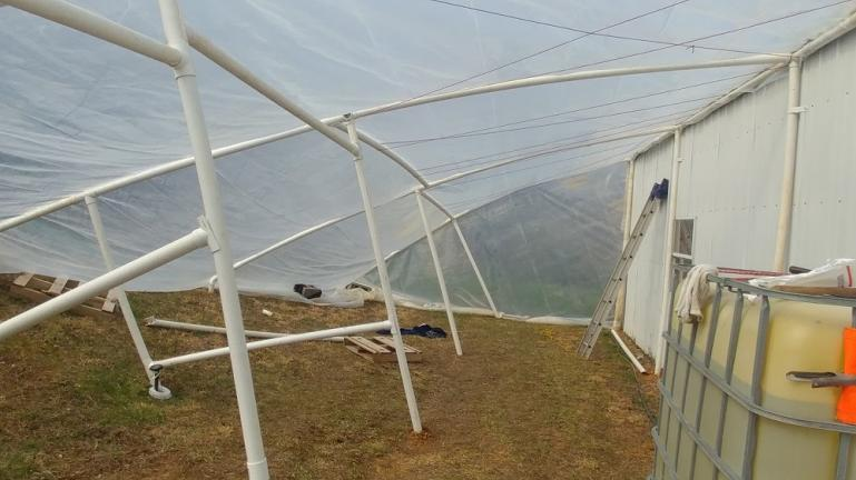 The 1st version of the greenhouse lasted until it was hit with a late heavy snow fall and collapsed.