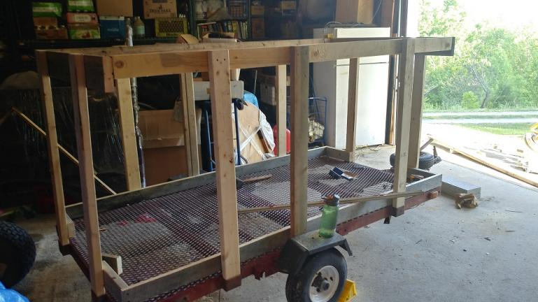 Based on The Chickshaw design we turned an unnecessary lawn mower trailer into a mobile chicken coop with the help of some friends from The Garden.