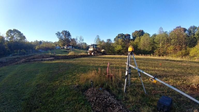 Leveling begins on a building site for the Barn/GreenHouse/Processing Station and future WWOOFer quarters.  11-14-19