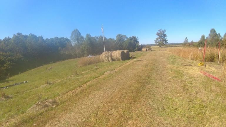 Our Hay, positioned for mulching and swale building  10-23-18