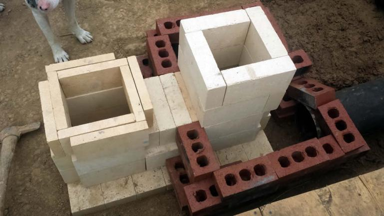 core stack ready for furnce cement, bricks are still wrong