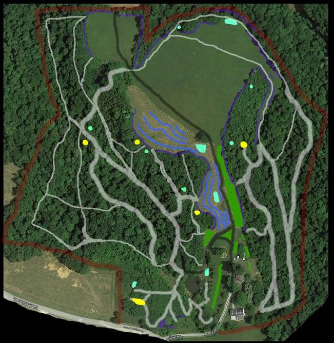 FUTURE property map overview- planned expansion of trail, campsites and structures