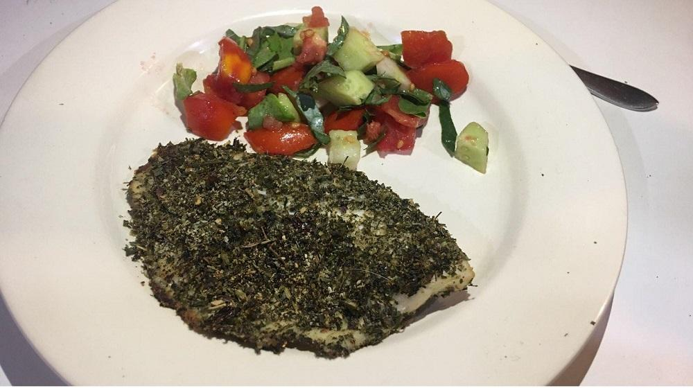 Relaxing Chillapia Fish Coat with Salad